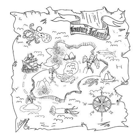 isla del tesoro: Colorear mapa niños Treasure Island