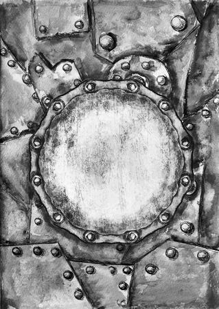 metal grunge: Watercolor Steam punk grunge card mockup