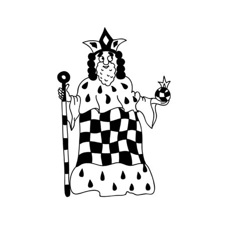 figurine: King Coloring page chess figurine isolated on white