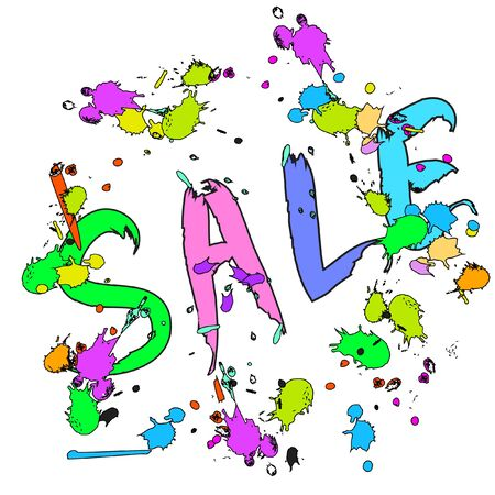 ink drops: SALE banner poster colorful with ink drops isolated
