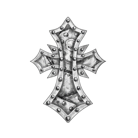 clench: Rustic steam punk style cross isolated on white