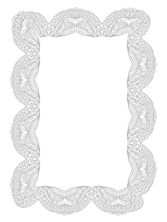 Decorative Lace Frame coloring page monochrome isolated
