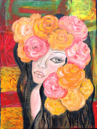 Girl with roses portrait oil painting  on abstract background