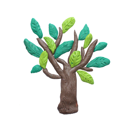 sculpture: Plasticine  green tree sculpture isolated