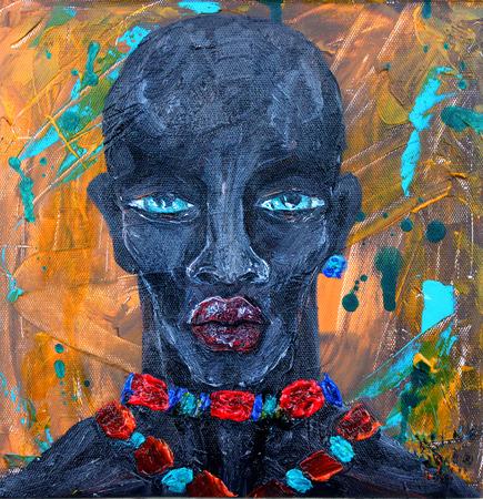 etnia: Hombre negro del retrato en el fondo abstracto del grunge Foto de archivo