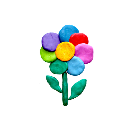 Plasticine  rainbow flower isolated on white background