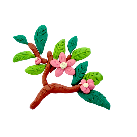 sculpture: Plasticine  blossoming  branch sculpture isolated
