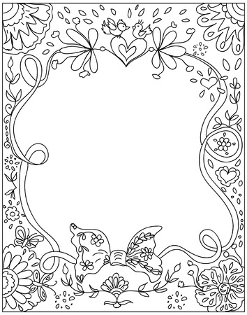 Decorative floral Coloring page black on white