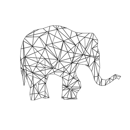 Low Poly adult Coloring page Elephant