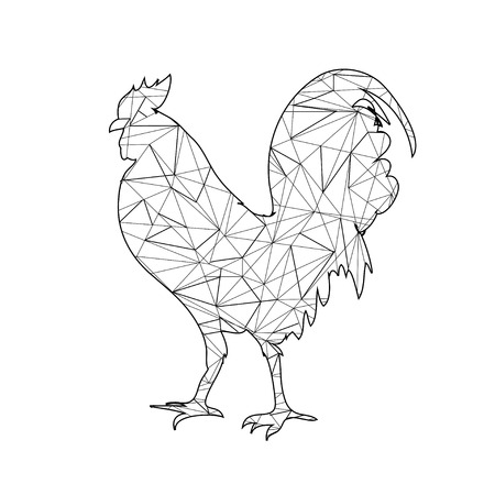 Low Poly adult Coloring page Rooster