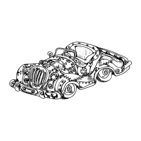 Steam punk retro car on white background ink sketch Vector Illustration