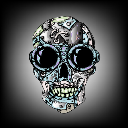 Steam punk color mechanical hipster skull