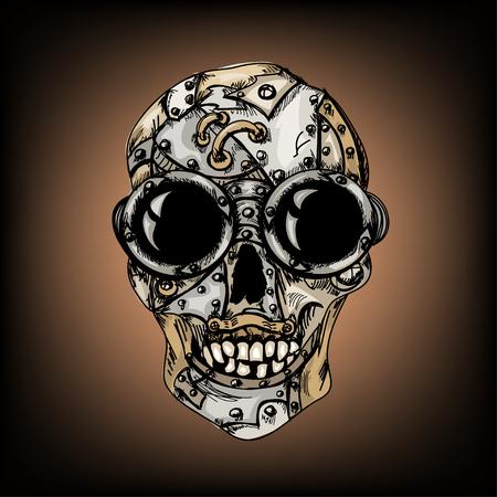 Steam punk color mechanical hipster skull