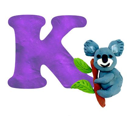 animal figurines: Plasticine  baby animal koala ABC alphabet 3D rendering  sculpture isolated on white