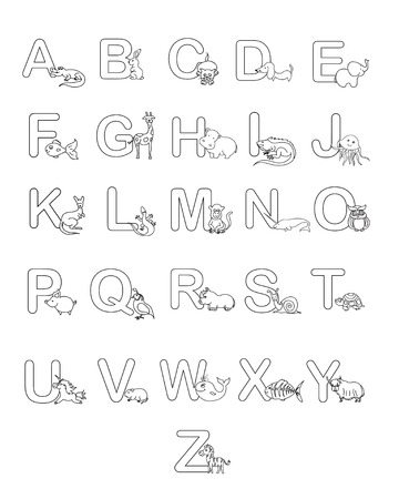 Geillustreerde Alfabet Met Grappige Dieren En Objecten Royalty Vrije