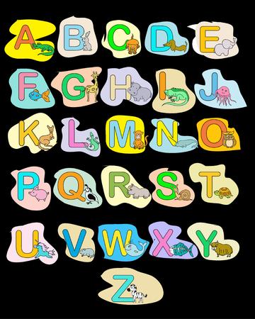 Unicorn fish: Alphabet baby animals ABC children color poster Stock Photo