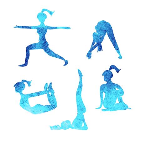 poses: Yoga poses silhouettes icons Stock Photo