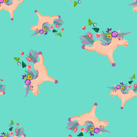 Plasticine  baby animal 3D unicorn  sculpture seamless pattern