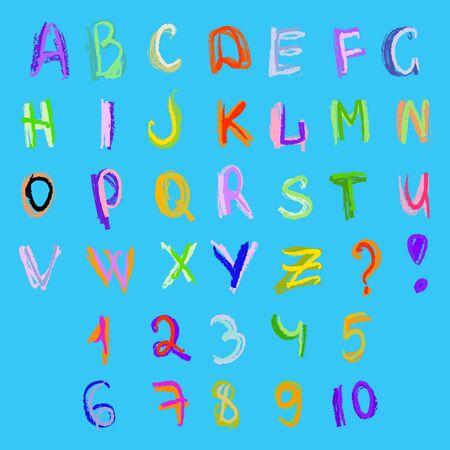 ABC y números Doodles Foto de archivo - 73268744