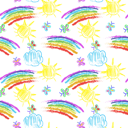 Kids Doodles Seamless Pattern with rainbow Stock Photo