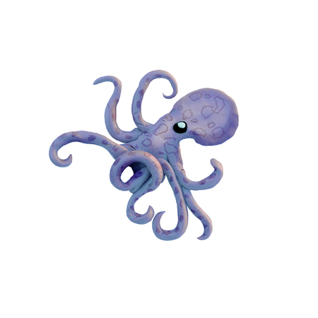 Plasticine  octopus  sculpture isolated