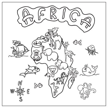 Africa Continent Coloring Page