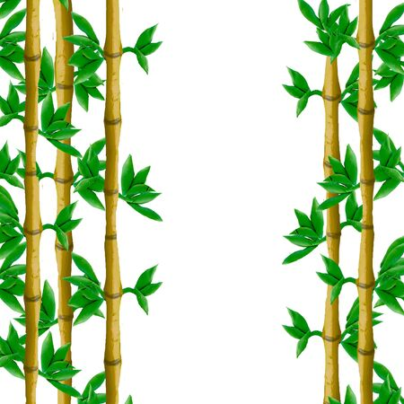 Plasticine  bamboo border background 3D  sculpture isolated