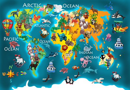 World  animals plasticine colorful kids 3d map Stock Photo