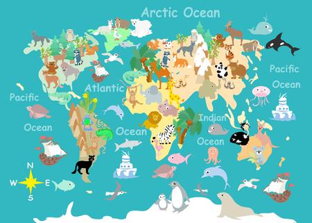 平らな世界の動物漫画子供地図 写真素材