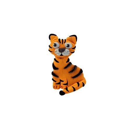 Plasticine 3D baby dierlijke beeldhouwkunst geïsoleerd tijger Stockfoto