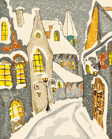雪の町のクリスマスの挨拶のカード 写真素材