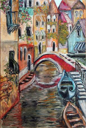 カラフルなベネチアの通り細かいアート油絵