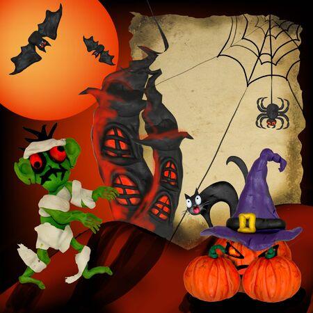 Halloween Plasticine greeting card