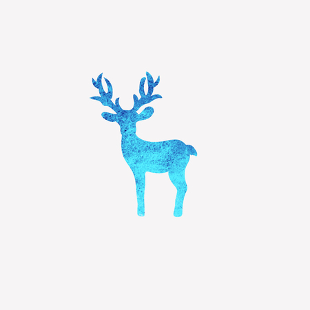 Watercolor baby deer silhouette icon mascot