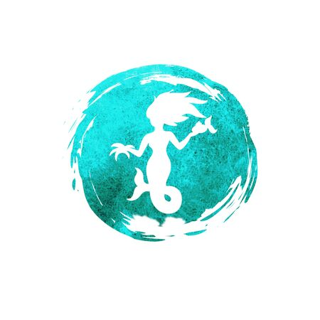 Watercolor mermaid silhouette isolated on white
