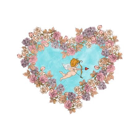 Vintage Valentine Day Cupid in vintage roses frame isolated on white