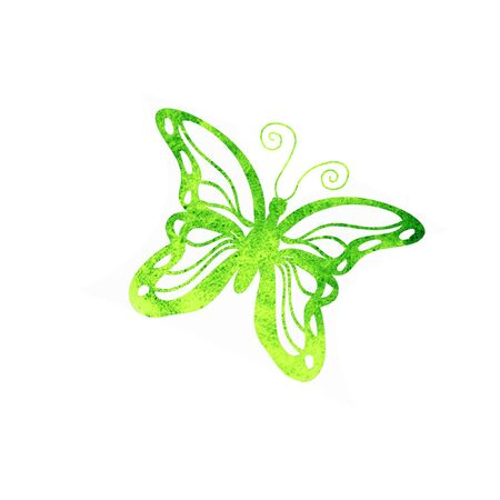 Butterfly watercolor silhouette isolated on white background