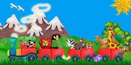 Traveling  Zoo animals 3D rendering children banner illustration Stok Fotoğraf