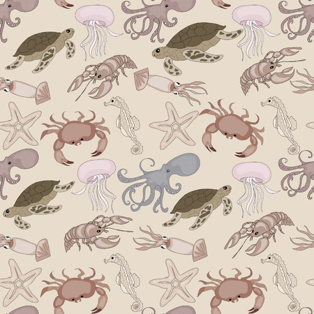 Nautical seamless pattern background with set of sea animals Stock Photo