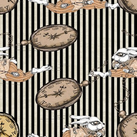 Alice in Wonderland running white rabbit seamless pattern on  Grunge vintage  background