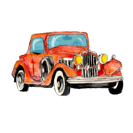 Watercolor hand drawn artistic colorful retro vintage car isolated on white baclground Banque d'images - 124944565