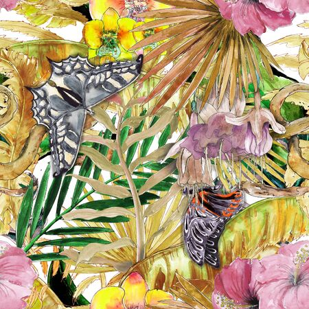Hawaiian Tropical jungle colorful watercolor hand drawn seamless pattern with plants and butterflies Stock fotó