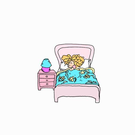 Kids ginger baby girl daily activity chore routine cartoon illustration