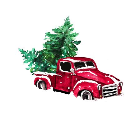 Watercolor hand drawn artistic colorful retro vintage car  with Christmas  tree isolated on white background Stock Photo