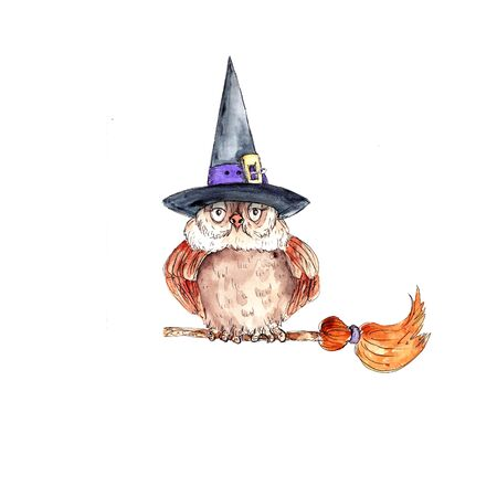 Watercolor hand drawn funny witch owl  illustration isolated on white background Stock Photo