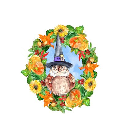 Watercolor hand drawn funny witch owl in floral frame illustration isolated on white background