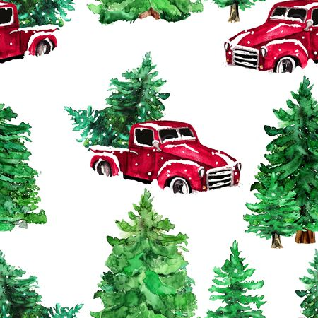 Watercolor hand drawn artistic colorful retro vintage car  with Christmas  tree in forest seamless pattern
