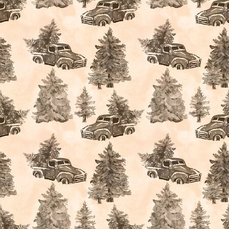 Watercolor hand drawn artistic colorful retro vintage sepia car  with Christmas  tree in forest seamless pattern Фото со стока
