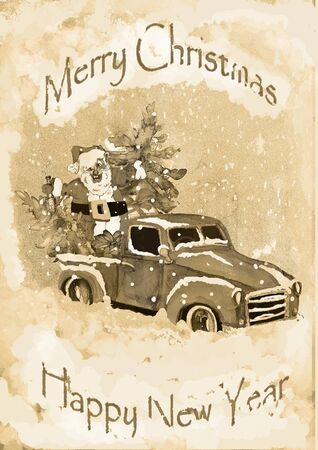 holiday Poster Christmas Watercolor hand drawn artistic colorful vintage Santa in car with pine tree and gift boxes greeting card monochrome