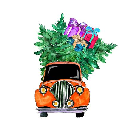 holiday Poster Christmas Watercolor hand drawn artistic colorful vintage Santa in car with pine tree and gift boxes greeting card isolated